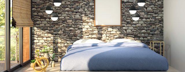 Décoration d'une chambre avec des matériaux naturels comme la pierre et le bois