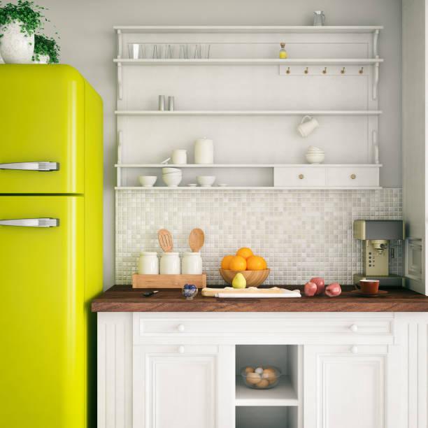 Frigo jaune vintage dans une cuisine