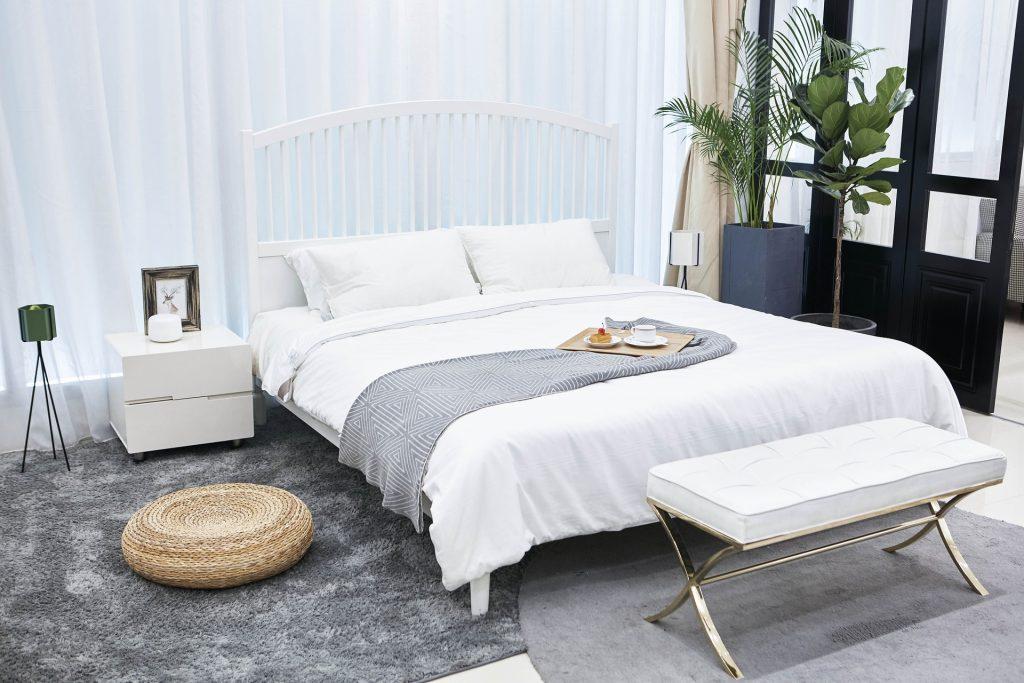 Chambre qui comporte un lit au centre, une verrière, un banc, une table de chevet, un tapis gris et deux grandes plantes